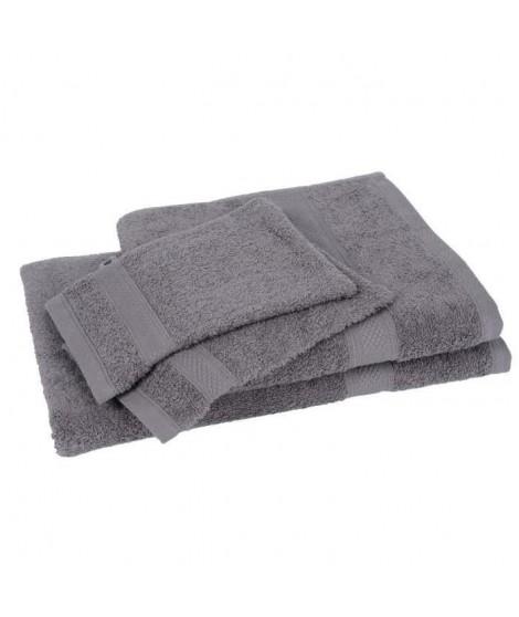 Lot de 1 drap de bain + 1 serviette + 2 gants ELEGANCE gris