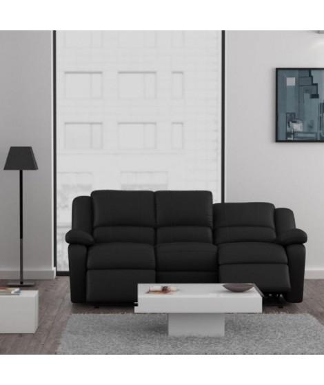 RELAX Canapé 3 places relaxation cuir et simili noir