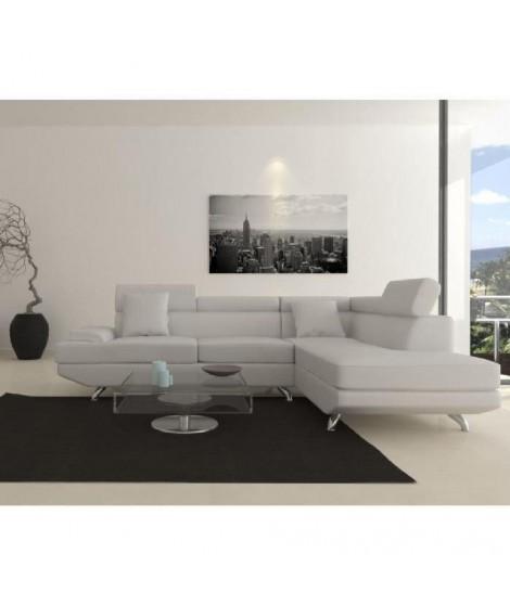 SCOOP XL Canapé d'angle droit simili 4 places  -  259x182x80 cm - Blanc