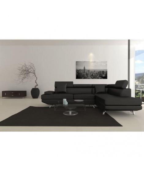 SCOOP XL Canapé d'angle droit simili 4 places - 259x182x80 cm - Noir