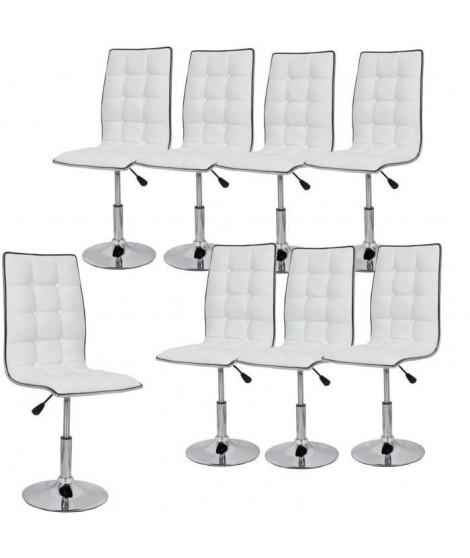 LEAF Lot de 8 chaises de salle a manger blanches