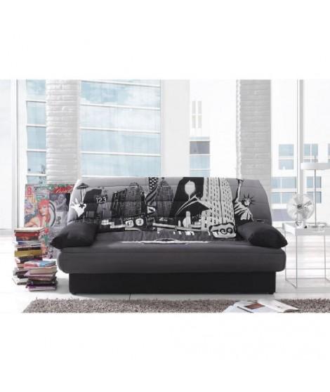 COCO Banquette clic-clac convertible lit + coffre 3 places tissu polyester imprimé New York