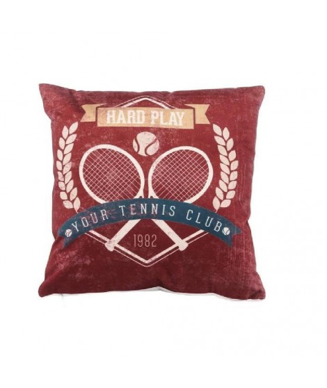 Coussin velours Tennis 30 cm marron