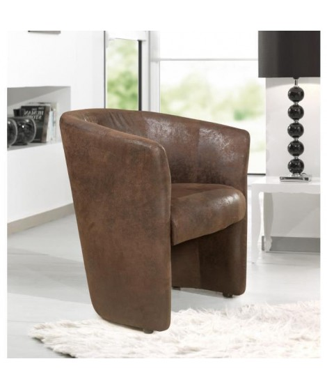 BAYA fauteuil cabriolet marron aspect vielli