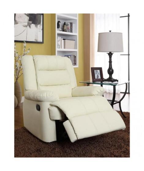 VOLUPTO Fauteuil de relaxation en cuir et simili ivoire - Grand confort