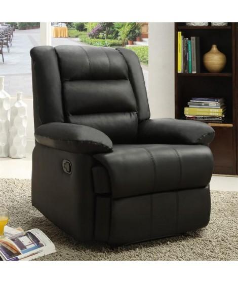 VOLUPTO Fauteuil de relaxation en cuir et simili noir - Grand confort