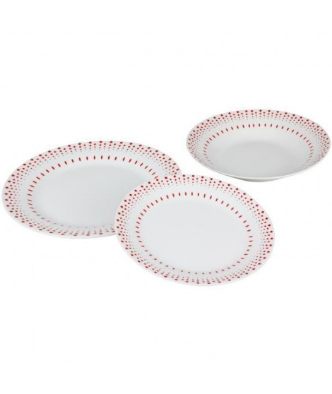 Service 18 pieces Grain de riz en porcelaine rouge