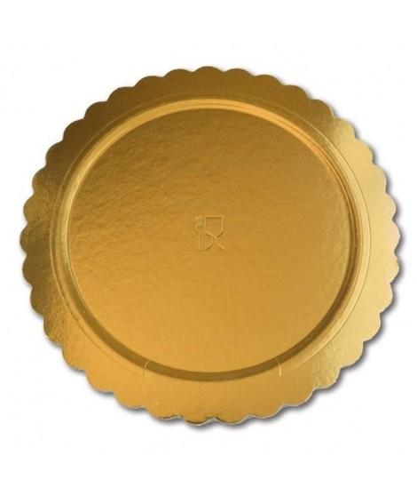 GUARDINI Lot de 3 plateaux en carton rond doré