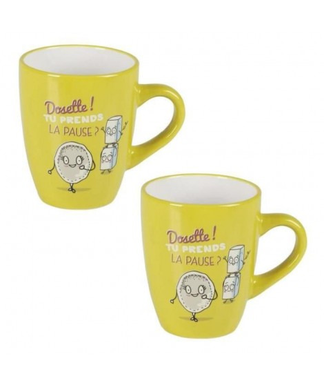 Lot de 2 mugs céramique CAFE COLOR 0,36L anis