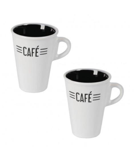 Lot de 2 tasses céramique CAFE CREME 0,13L blanc