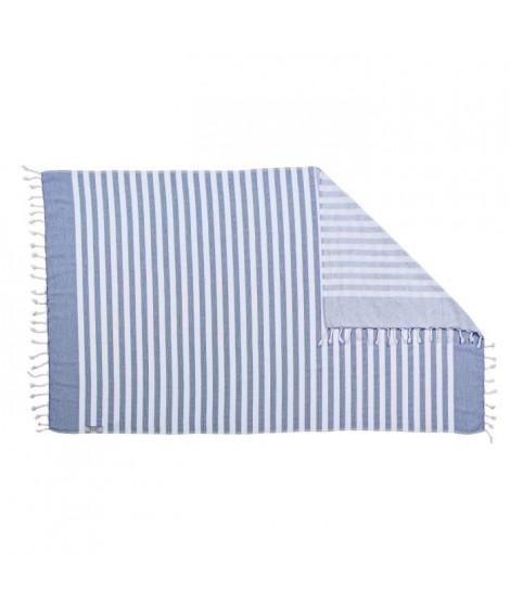 DONE Serviette Hammam Cairo - Bleu - 90x160cm - 100% Coton - 300gr/m²