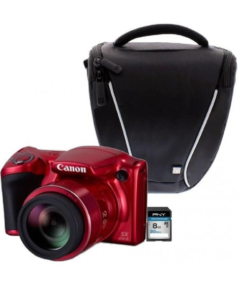 Canon PowerShot SX410 IS Rouge + Sacoche + Carte 8 Go
