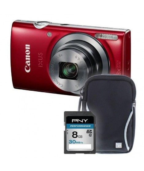 IXUS 160 rouge + sacoche + carte 8Go - Appareil photo compact