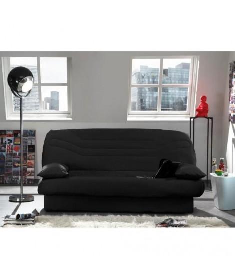 COCO Banquette clic-clac convertible lit 3 places tissu 100% coton noir