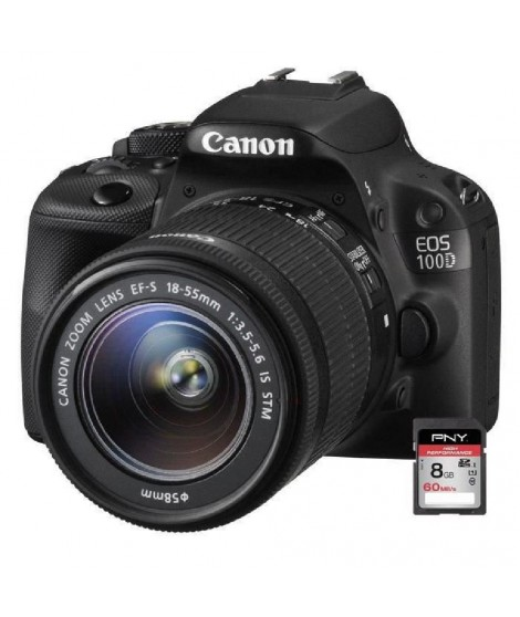 CANON EOS 100D + 18-55 IS STM + Carte 8 Go