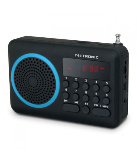MET 477203 Radio portable FM Bleu