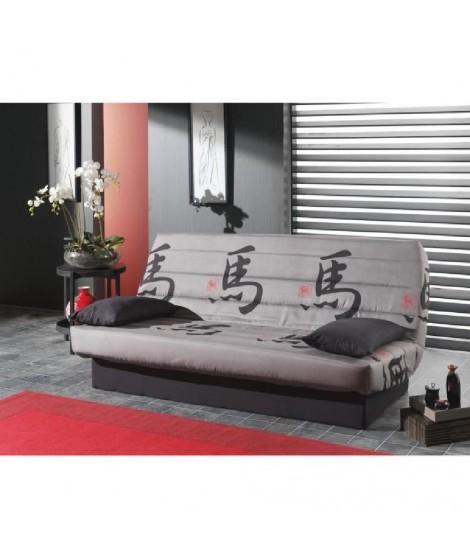 TOKYO Banquette clic-clac tissu3 places - 190x130x42 cm - Gris et noir