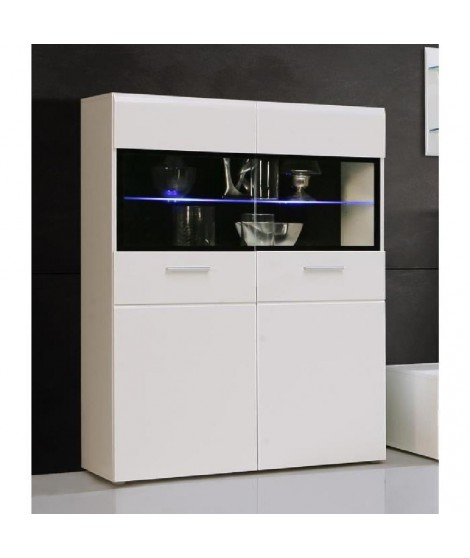 SLATE Vitrine 100cm blanc brillant et noir + LED