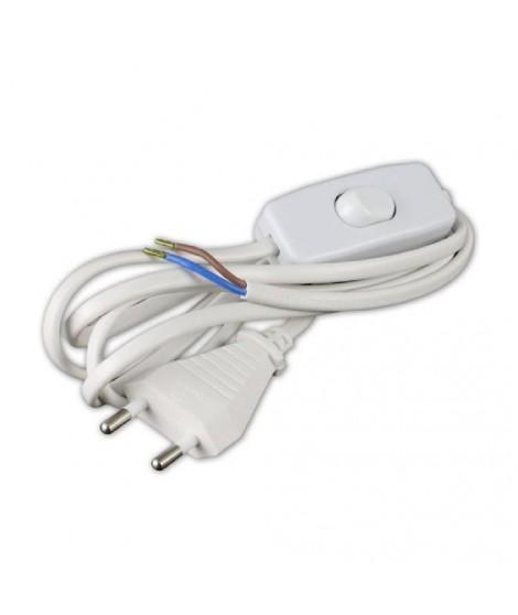 Cordon d'alimentation 1,5m 2x0,75mm² avec interrupteur pour luminaire blanc