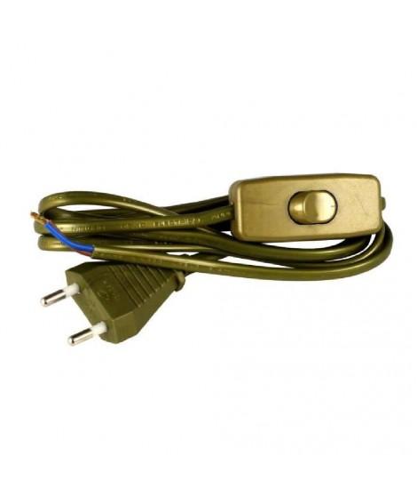 Cordon d'alimentation 1,5m 2x0,75mm² avec interrupteur pour luminaire or