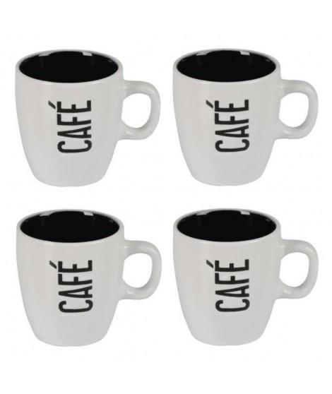 Lot de 4 mugs céramique CAFÉ CReME 0,14L blanc