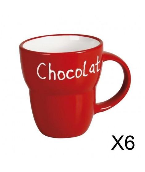 """Lot 6 Mugs céramique """"Chocolat"""" ROUGE Grand Modele"""