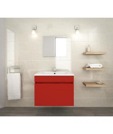 LANA Ensemble de meubles de salle de bain : vasque + miroir + meuble sous-vasque 60 cm - Rouge mat