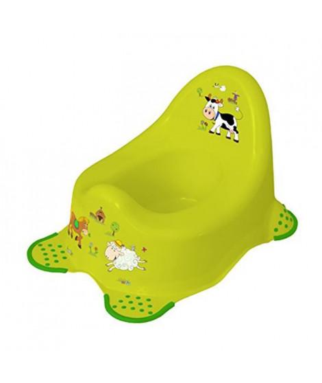 """PLASTOREX Pot de nuit a pieds antidérapants """"Funny farm"""" - Vert"""