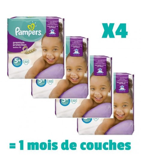 Pampers ActiveFit Taille 5+ 13 a 25 kg 128 couches 1 mois