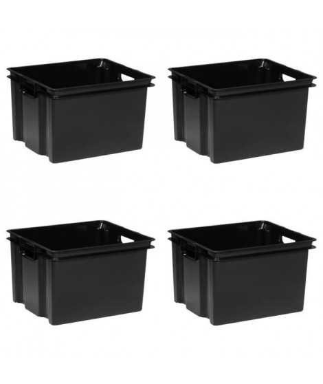 ALLIBERT Lot de 4 bacs de rangement Vulcano 30 L