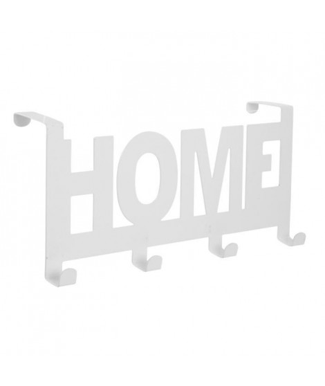 HOME Patere de porte métal 4 crochets Blanc