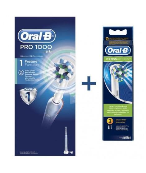 Brosse a dents électrique rechargeable - ORAL-B PRO 1000 CrossAction + 3 brossettes de remplacement CrossAction