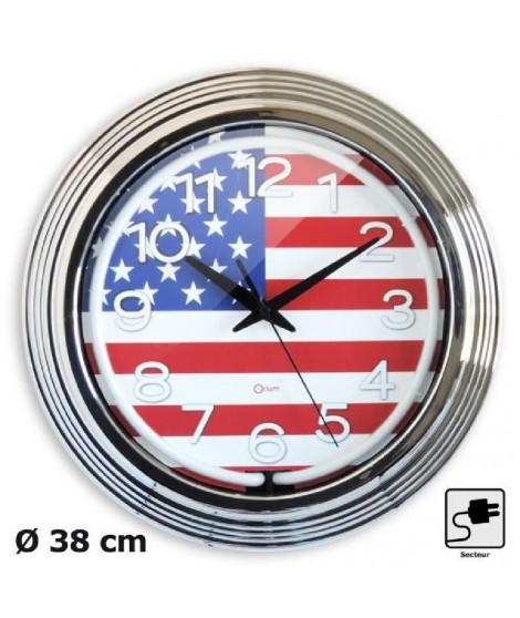 NEON Horloge murale  Ø38 cm chrome.
