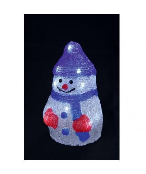 Bonhomme de neige lumineux 16 LED 21x12 cm bleu