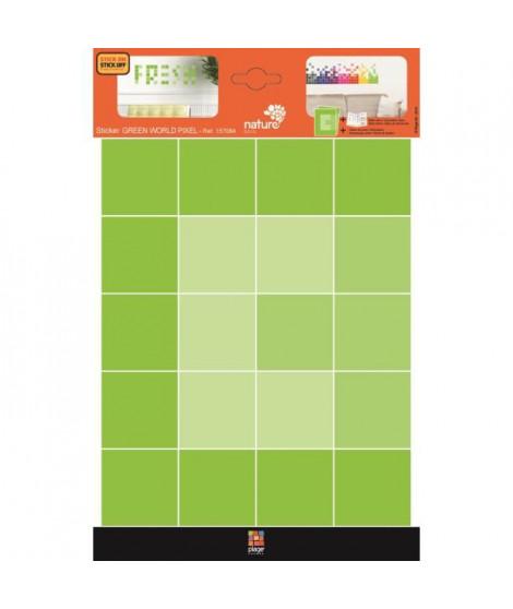 PLAGE Stickers adhésif mural Taille S - Green pixel2 planches 29,7 x 21 cm, divers motifs