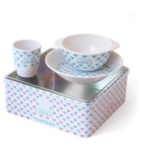 PLASTOREX lot vaisselle mélamine blanche décor Petits Coeurs bleus (assiette, bol, gobelet) sous boîte métallique décorée