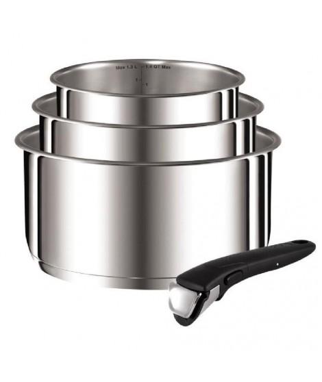TEFAL Série de 3 casseroles  + 1 poignée Ingenio préférence 16-18-20 cm gris