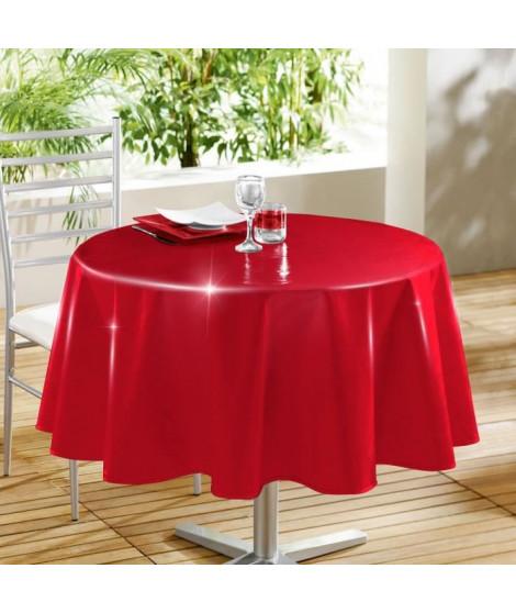 DOUCEUR D'INTERIEUR Nappe toile cirée Décor line Glossy 160 cm rouge