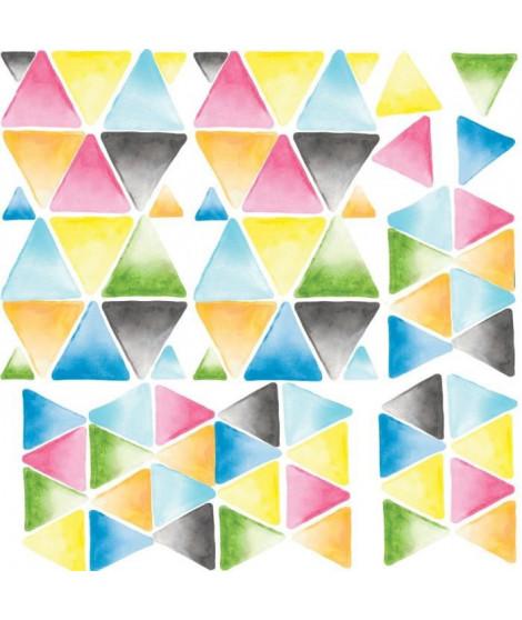 ROOMMATES Lot de 76 stickers TRIANGLE AQUARELLE MULTICOLORE repositionnables