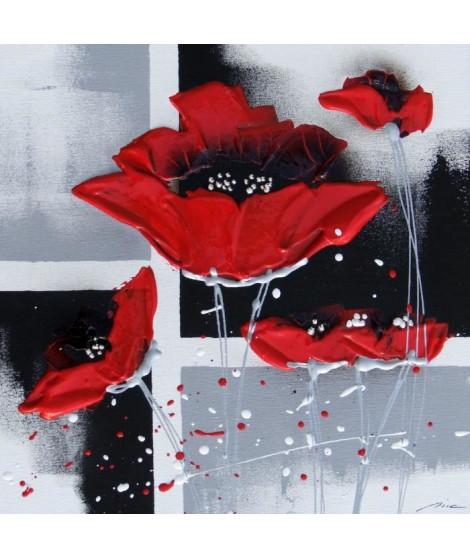 FLORAL Tableau déco toile peinte a la main 30x30 cm rouge