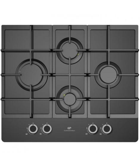 CONTINENTAL EDISON CECTG4GFVB - Table de cuisson Gaz-4 foyers-L60cm-Noir