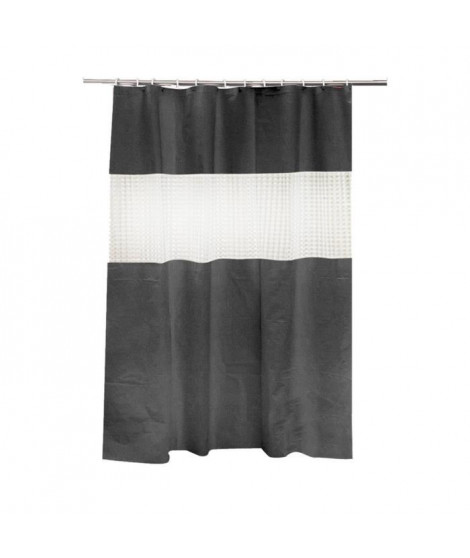 FRANDIS Rideau de douche Peva transparent noir et blanc