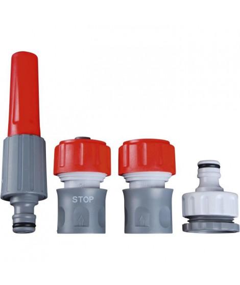 DIPRA Kit lance + raccords - Multi-jet - Plastique - Ø15 mm - Gris et rouge