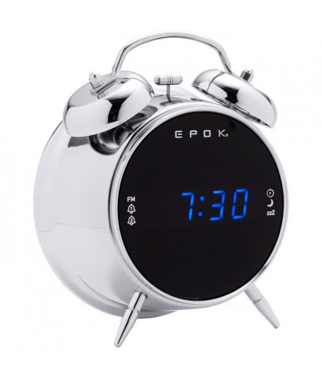 BIGBEN RR90EPOKS Radio Réveil EPOK - Double alarme - Argent