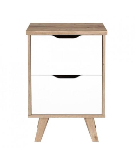 FINLANDEK Chevet VANKKA scandinave décor chene et blanc mat + pieds en bois massif - L 45 cm