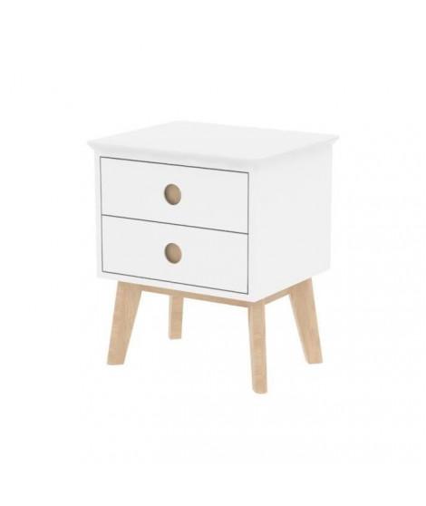 CENTURY Chevet classique laquée blanc mat + Pieds en bois chene laqué naturel blanchi - L 50 cm