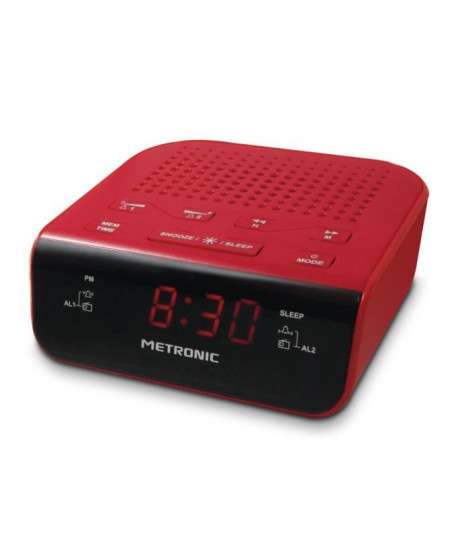 MET 477011 Radio réveil Pop Red