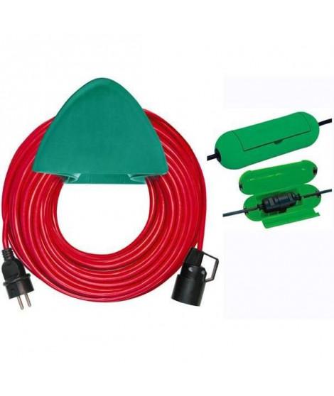 BRENNENSTUHL Rallonge rouge 40m H05VV-F 3G1,5 avec support mural et safe-box