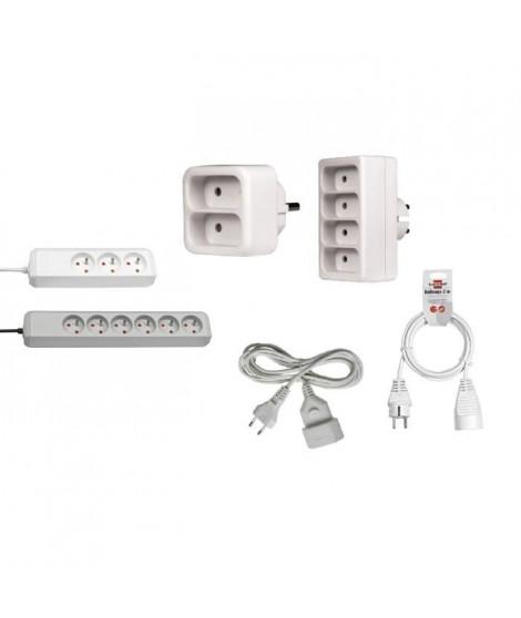 BRENNENSTUHL Pack Electricité avec 4 multiprises et 2 rallonges électriques