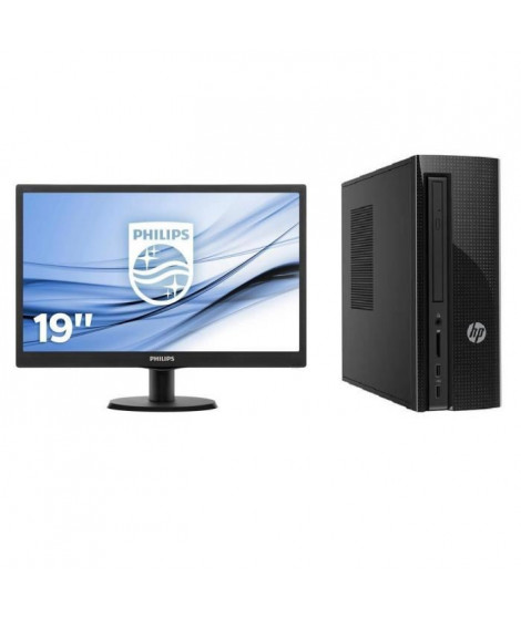 Pack HP PC de bureau - 4 Go de RAM - Windows 10 - AMD E2-7110 - AMD Radeon R2 Graphics - Disque dur 1 To + PHILIPS Ecran 19''